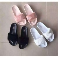 Wholesale RIHANNA FUR LEADCAT FENTY SLIDES WOMEN Men SLIPPERS House Winter Slipper Home Shoes Woman Warm Slippers Chinelos Bag