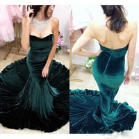 Wholesale 2017 Hunter Velvet Mermaid Evening Dresses Strapless Vestidos De Fiesta Backless Sleeveless Dubai Arabic Sexy Prom Party Gowns
