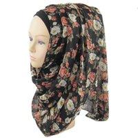 achat en gros de usine foulard musulman-Factory Sale Fashion Flower Print Chiffon Soft Scarve Muslim Hijab De Belle Charmante Chapeau Islamique Grande Taille Livraison Gratuite