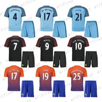 Wholesale 16 Mens Manchester City Soccer Jersey With Shorts KUN AGUERO SANE GUNDOGAN ATERLING NOLITO SILVA Soccer Uniforms Kit