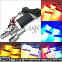 acura grille - 3 Flashing Modes Car LED Emergency Strobe Flash Light Grille lights Lamp LED Amber Red Blue White W