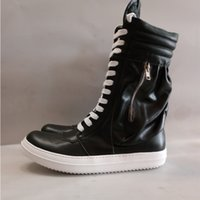 basic grains - Men Women Boots Arrival Shoes Basic High Top Genuine Leather Luxury Trainers Men Owen Snow Boots Lace Up Zip Flats Black Shoes
