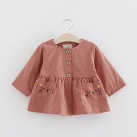 baby clothe cat - Cute Little Girls Cat Pocket Coats Spring Kids Boutique Clothing Korean Kids Clothes Supply Baby Girls Button Closure Outerwear