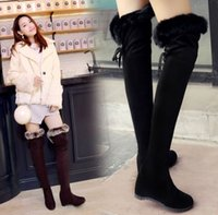 Wholesale New Arrival Hot Sale Specials Super Fashion Influx Cheap Wool Elastic Winter Rabbit Hair Warm Knight Wedge Knee Boots EU34