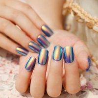 Wholesale Symphony Shell Color Blue Metal Shine Bent Lady Artificial False Nail Tips Z089