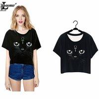 Wholesale Lei SAGLY Black Cat Shining Eyes T shirts Short Sleeve Summer O neck Tshirts Women Clothes Crop Tops Punk Harajuku F976