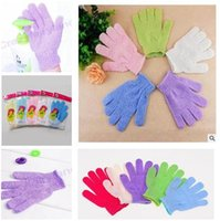 Wholesale Bath Gloves Shower Exfoliating Wash Skin Spa Body Brush Five fingers Bathroom Accessories Nylon Bathing Supplies gloves