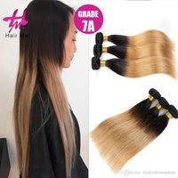 al por mayor marrón recta armadura brasileña del pelo-3Pcs / Lot Brown pelo de Ombre de las tramas del pelo recto brasileño de las extensiones Ombre del pelo 100%