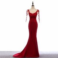 2017 Real Picture Red Mermaid Long Robes de bal Long Sleeve Sexy Backless Floor-Length Robe formelle Robes de soirée