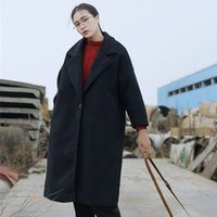 Wholesale X Long Autumn Winter Fashion Korean Style Cotton Wool Blends High Quality Women Loose Thicken Ladies Long Coat FS1063