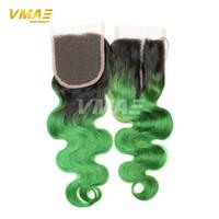 Densité 150 Ombre Lace Front Top Clôture Body Wave Two Tone Black Root Green Cheveux humains vierges brésiliens Fermeture en dentelle de 4 * 4 pouces