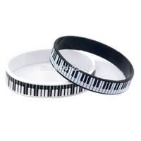 achat en gros de bracelets d'impression-100PCS / Lot Bracelet en caoutchouc imprimé Bracelet en silicone blanc et noir en caoutchouc doux Bracelet en silicone pour clavier de musique