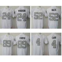 Wholesale Mens Derek Carr American football jerseys Embroidery Logos Amari Cooper Khalil Mack Charles Woodson Black Game Jersey