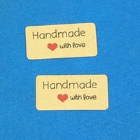 Wholesale cm Kraft Sticker Labels quot Hand made with love quot stickers Paper Packaging Self Adhesive Sealing Labels for Wedding gift