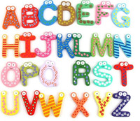Wholesale Words Fridge magnets Set Children Kids Wooden Cartoon Alphabet Education Learning Toys Adult Crafts Home Decorations Gifts HH F02