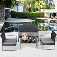 Wholesale 4 Outdoor Patio Garden Black Rattan Wicker Sofa Set Furniture Cushioned