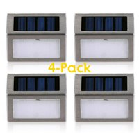 outdoor steel staircase - Pack LED Solar Powered Wireless Stainless Steel Staircase Step Wall Light For Garden Fixture Lighting Outdoor Wall Lamp