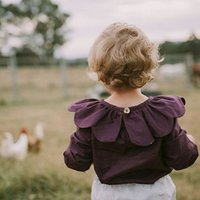 Wholesale 2017 INS NEW ARRIVAL Girls Kids long Sleeve purple T shirt girls causal spring summer Petal collar t shirt Free Ship