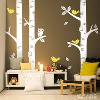 Wholesale Straw Owls - Wholesale-Cute Owl Birds Birch Tree Wall Sticker Decal Wallpaper Mural Kids Forest Home Bedroom Living Room Decoration 250*250CM
