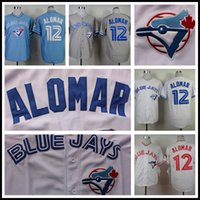 Wholesale 2016 Majestic Roberto Alomar Jersey Toronto Blue Jays Throwback Baseball Jersey High Quality Stitched Blue Gray White