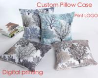 Wholesale 100pcs Bamboo hemp cushion cover custom digital print pattern pillow case customized company logo free DHL