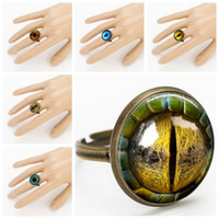 Band Rings american lizard - Rings Vivid lifelike Dragon Cat Eye lizard Reptiles Charms Art Picture Handmade jewelry photo Glass Cabochon RC138