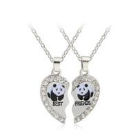 Bijoux de panda Prix-Panda collier meilleur ami, bijoux Bestfriends, Best Friend Collier, strass Colliers coeur brisé