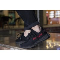 Wholesale KANYE SHOES CP9652 BOOST V2 BLACK RED COLOR NEW SPLY MEN WOMEN SHOES TRUE BOOST WITH BOX KIDS V2 FOOTWEAR SIZE12