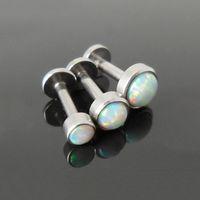 Wholesale Fire Opal Earrings Studs Triple Helix Piercing Surgical Steel Labret Lip Nose Body Jewelry Conch Tragus Cartilage Ear Piercing