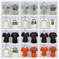 achat en gros de femme chemises oranges-Femmes San Francisco Giants 8 Chasseur Pence Willie Mays Buster Posey 40 Bumgarner 35 Brandon Crawford SF Femmes Jerseys de base-ball Lady Chemises