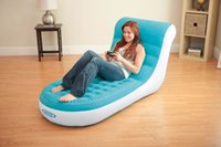 Wholesale INTEX deluxe single flocking inflatable sofa with electric pump lazy sofa Backrest reclining chair pc by DHL