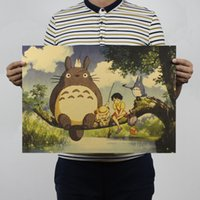 animated movie posters - Hayao Miyazaki Animation Set My neighbor Totoro Adornment Animated Cartoon Movie Posters Kraft Paper Restoring Ancient Ways