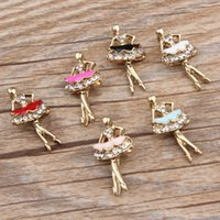 Wholesale 10pcs Zinc Alloy Dancing Ballet Girl Enamel Charm Pendant For Necklace Bracelet Jewelry Accessories DIY mm