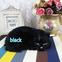 Wholesale Fur Animal Handicraft Simulation Black Cats Sleep Series Place Children Plush Animal Toys Photography Props