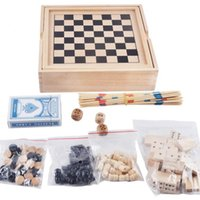 Wholesale High quality classic wooden chess board game double back game sticks multi functional puzzle game box free delivery