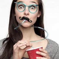 bars eyeglasses - DIY Straw Eyeglass Frames Funny gift Toys for Child Kids Novelty items Glasses model randomly color
