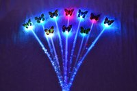 Wholesale New Girl favorite light up toys colorful butterfly hanging Flash hair braid LED Hairpin party Decoration Club Bar supplies