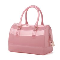 Wholesale 2017 Spring New High Quality Fashion Women Lovely Candy Color Handbags Charming Jelly Bags Zipper Tote Handbags Office Lady Party Bag
