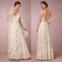 Wholesale Vintage Wedding Dresses Sexy V Neck Sleeveless A Line Elegant Lace Appliqued Floor Length With Belt Beach Wedding Dress