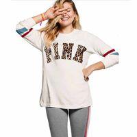 Wholesale VS Secret Love Pink T Shirt Women Sports Tumblr Harajuku Tracksuit Long Sleeve Tee Shirts Tops Clothing Teen Girls Plus Size