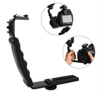 Support de montage flash dslr caméra Prix-Qualité de vente directe directe à l'usine Photographie Video Flash Camera Grip L Support Support avec 2 Standard Side Hot Shoe Mount DSLR Holder