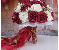 Wholesale 2017 New Arrival Handmade Flowers Cheap Wedding Bouquets Ivory Burgundy Wine Red Artifical Roses Bridal Bridesmaid Bouquets Wedding Flowers