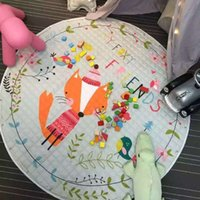 Motif de tapis de bébé Prix-Vente en gros - 2017 Hot Sale Diameter 150cm Lovely Fox Pattern Baby Play Mats pour enfants développant Crawling Rug Carpet Kids Toys Storage Bag
