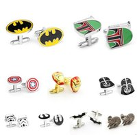 Wholesale Star Wars Cufflinks for Men Fashion Cufflinks Wedding Men Business Shirt Suit Cuff Links Cartoon Jedi Knight Darth Vader Novelty Cufflinks