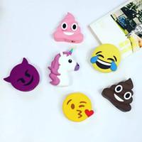 Wholesale Emoji poke poop Chargers mAs powerbank soft PVC unicorn poop devil horse skull power bank smart phone charger with box LJJH1455