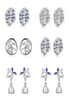 Wholesale Pendant Decoration Elegant Violet Blue Crystal Butterfly Earring Europe Personality Leaf Pattern Earrings Chic Oval Tree Branches Jewelry