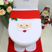 Wholesale Christmas Toilet Seat Covers Santa Claus Snowman elk Toilet Seat Cover Rug Bathroom Tank Cover Sets Christmas Decorations Gifts Xmas