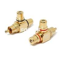 20pcs / Bag de haute qualité plaqué or RCA mâle à 2 Femelle RCA Splitter Adaptateur AV Vidéo Audio T Plug RCA 3 Way Plug