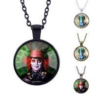alice choker - Alice s Adventures in Wonderland Necklace Alice Mad Hatter Timestone Pendant Silver Bronze Black Sweater Chain Gift