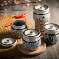 Wholesale Vintage Japanese wind and ceramic household kitchen seasoning cans set the belt cover painted underglaze